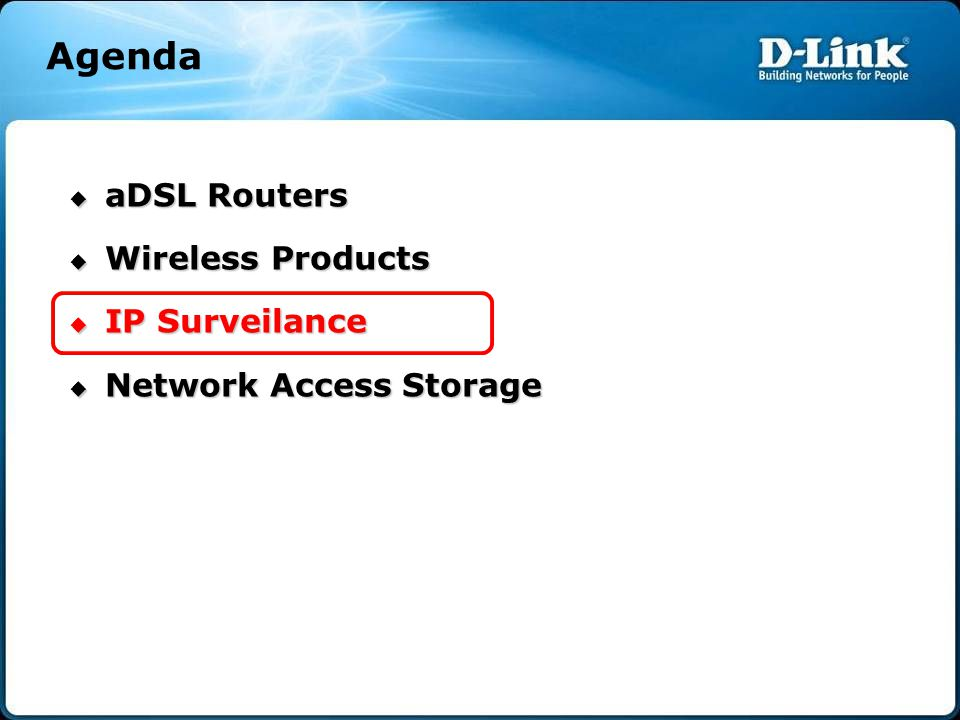 Agenda aDSL Routers Wireless Products IP Surveilance