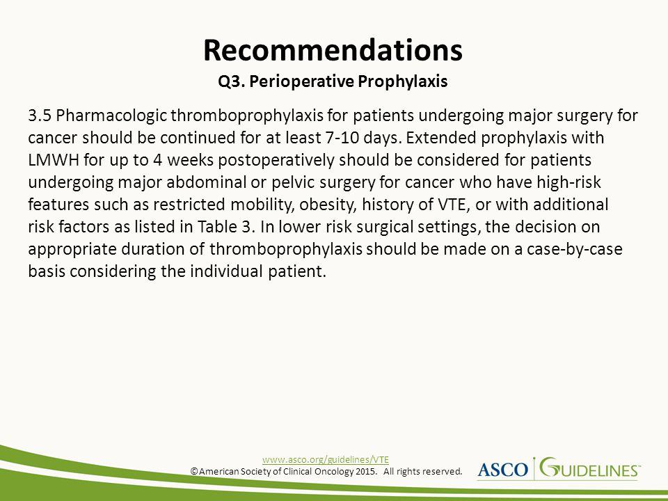 Recommendations Q3. Perioperative Prophylaxis