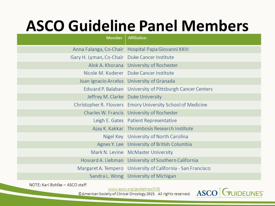ASCO Guideline Panel Members