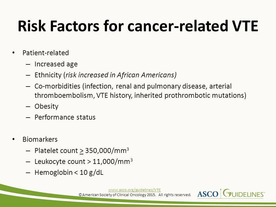 Risk Factors for cancer-related VTE
