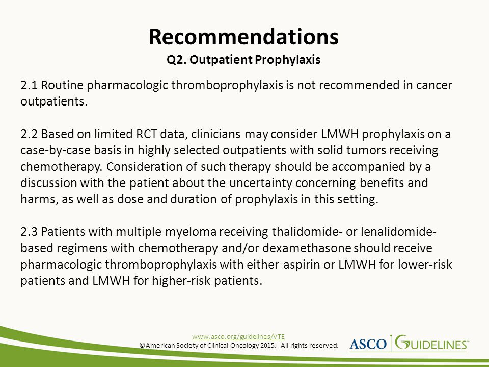 Recommendations Q2. Outpatient Prophylaxis