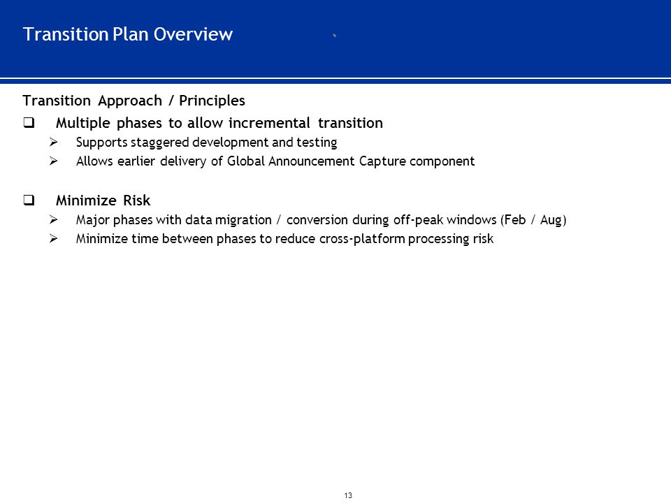 Transition Plan Overview
