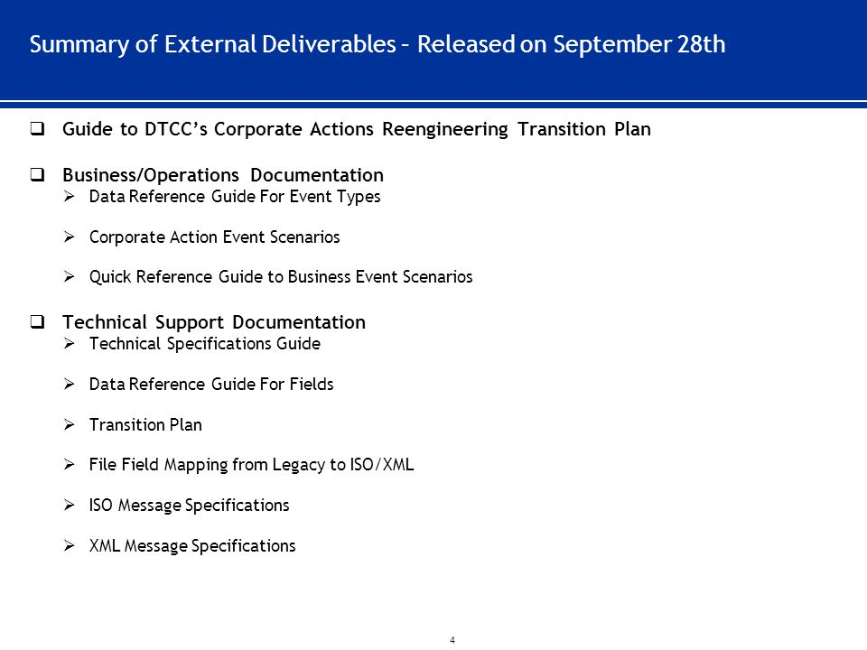 Summary of External Deliverables – Released on September 28th