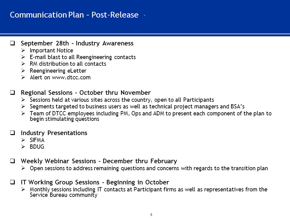 Communication Plan – Post-Release