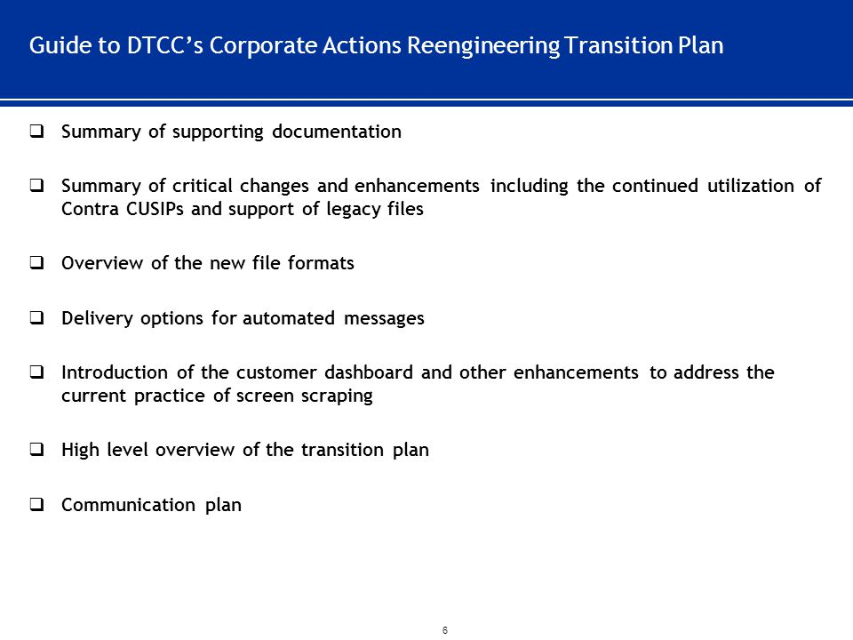 Guide to DTCC's Corporate Actions Reengineering Transition Plan