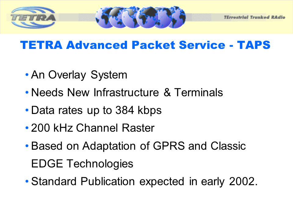 TETRA Advanced Packet Service - TAPS