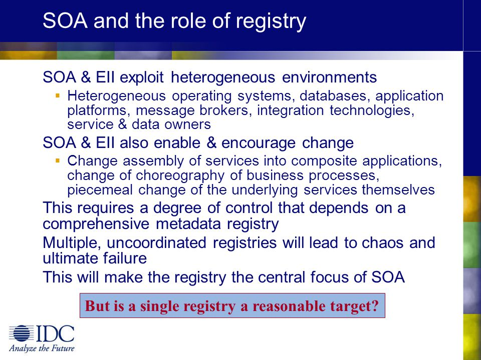 SOA and the role of registry