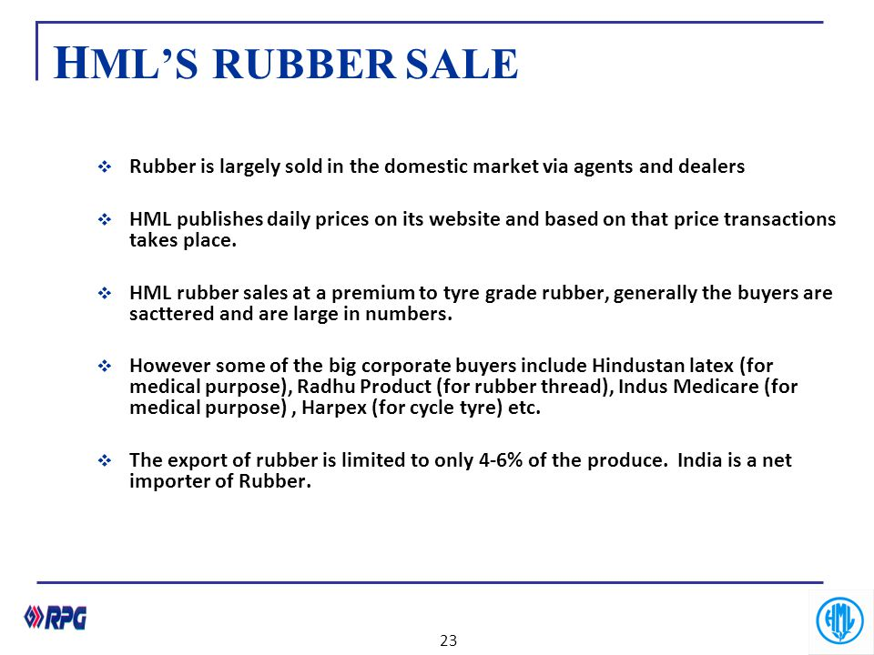 HML'S RUBBER SALE Rubber is largely sold in the domestic market via agents and dealers.