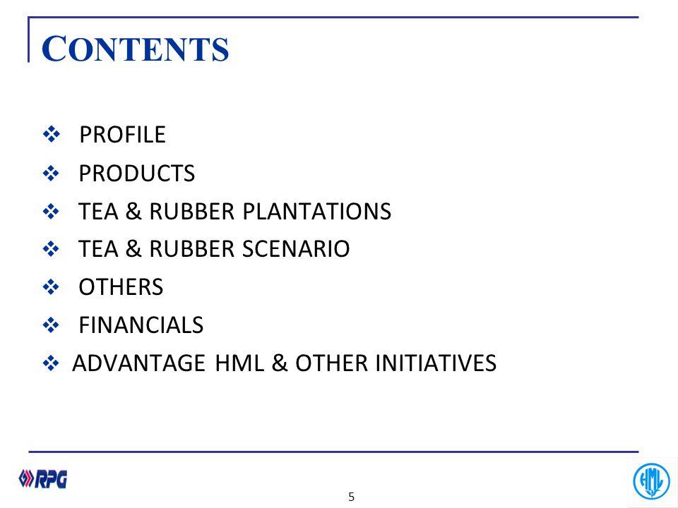 CONTENTS PROFILE PRODUCTS TEA & RUBBER PLANTATIONS