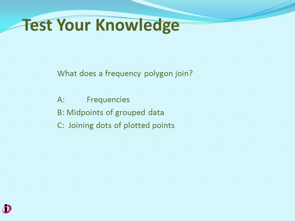 Test Your Knowledge What does a frequency polygon join.
