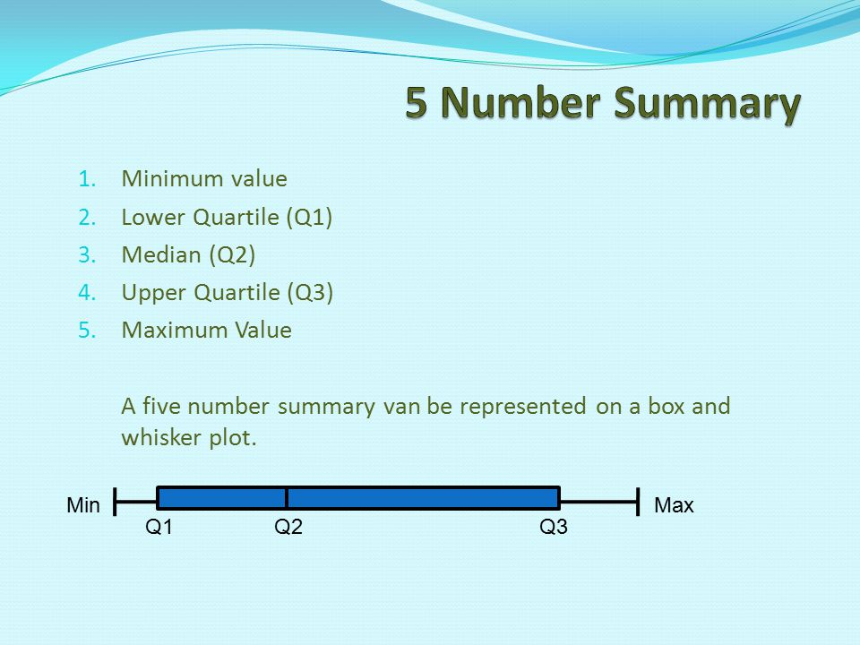 5 Number Summary Minimum value Lower Quartile (Q1) Median (Q2)