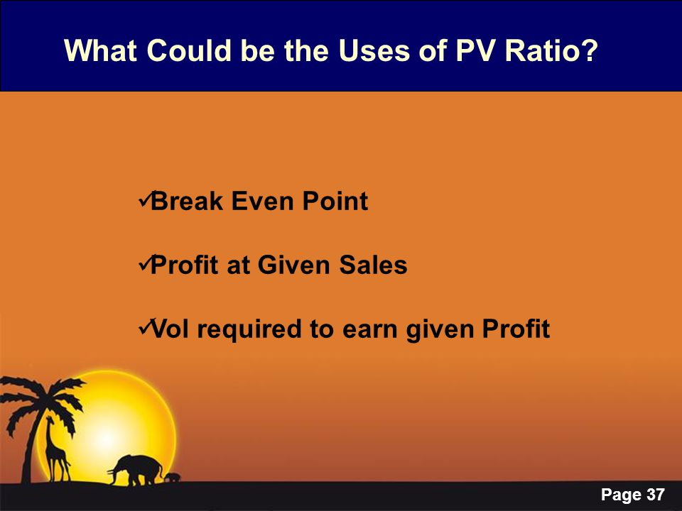 What Could be the Uses of PV Ratio