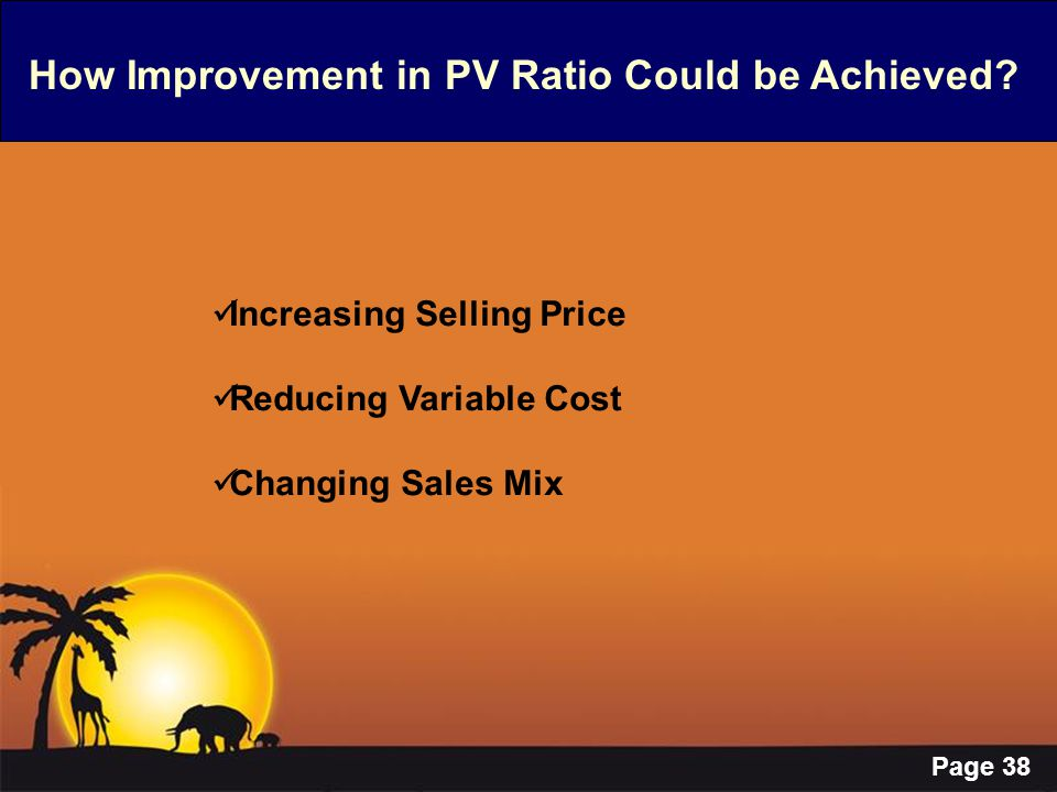 How Improvement in PV Ratio Could be Achieved