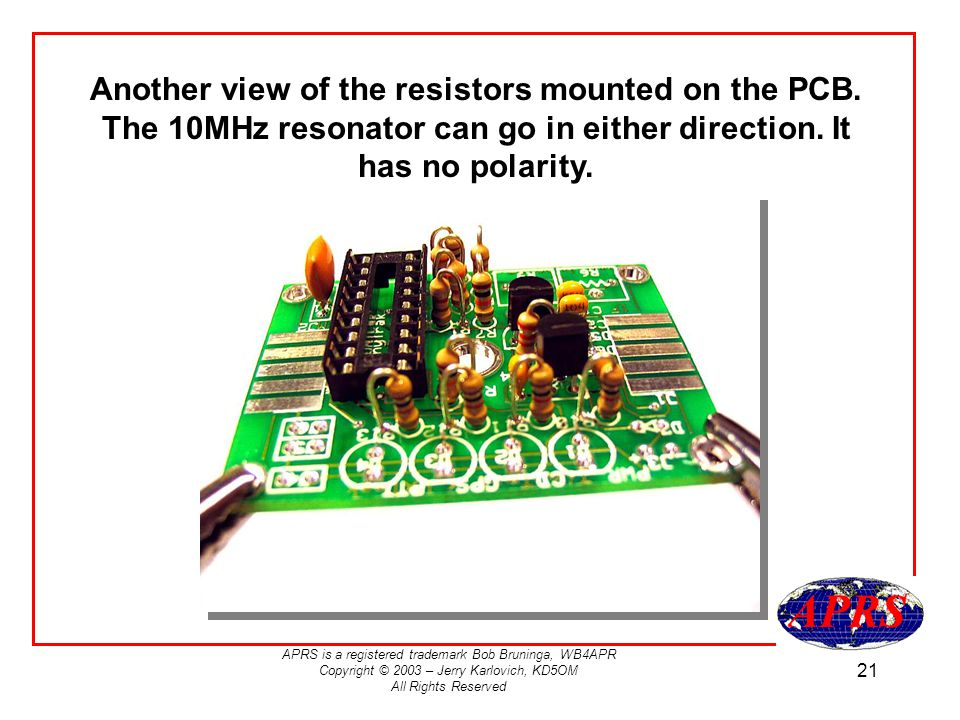 Another view of the resistors mounted on the PCB