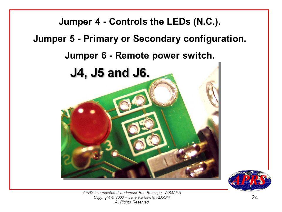 Jumper 4 - Controls the LEDs (N.C.).