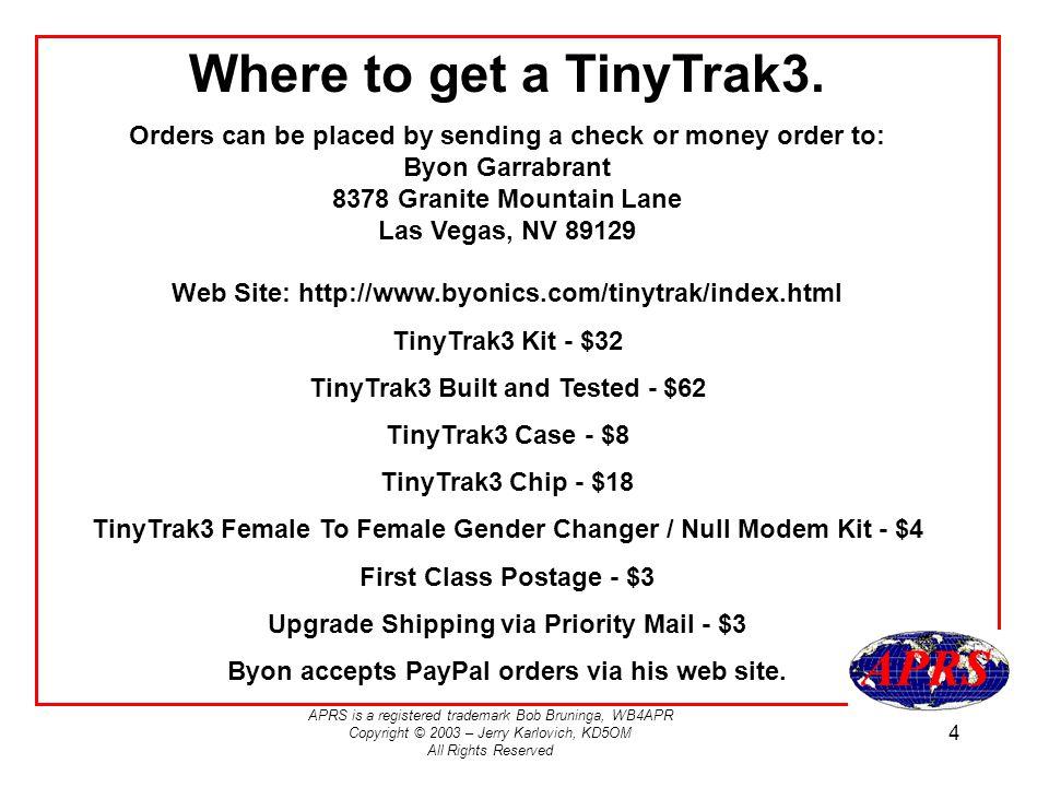 Where to get a TinyTrak3.