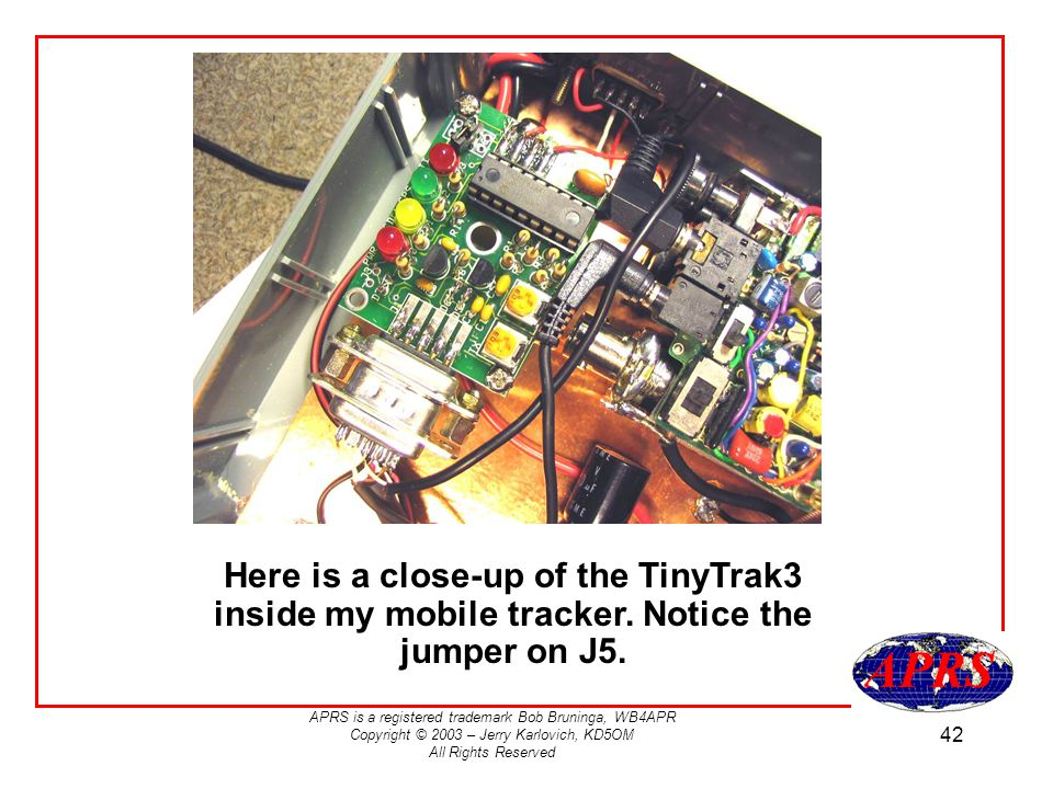 Here is a close-up of the TinyTrak3 inside my mobile tracker