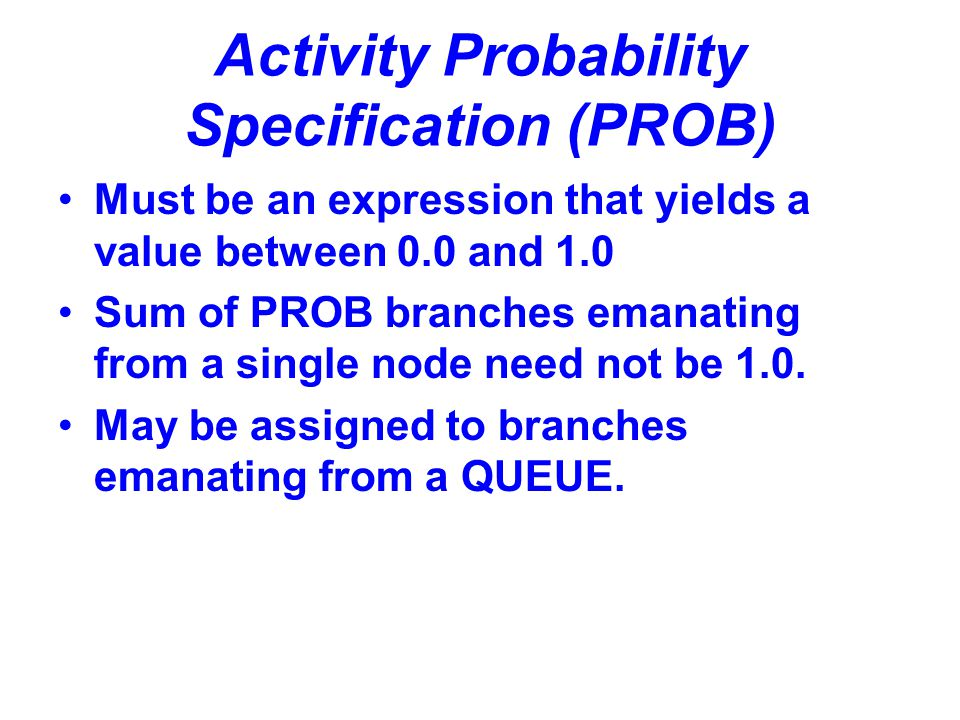 Activity Probability Specification (PROB)