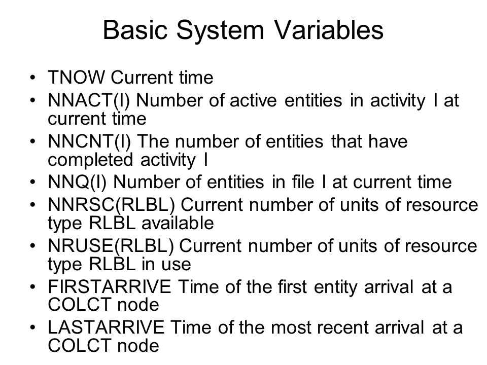 Basic System Variables