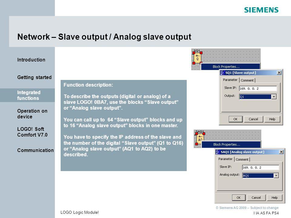 Network – Slave output / Analog slave output