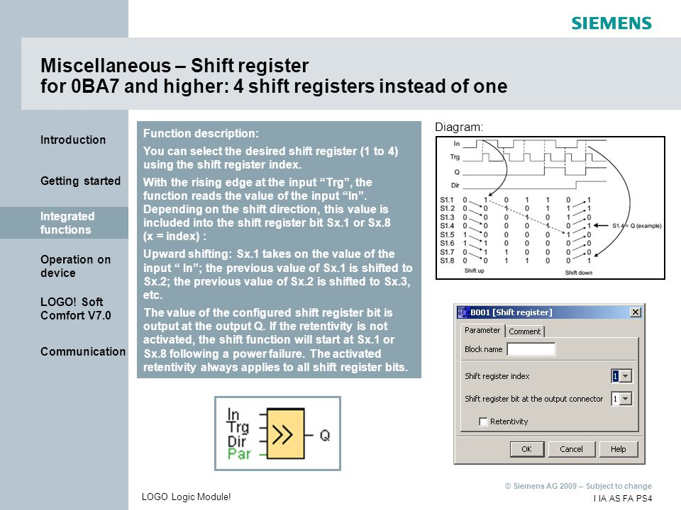 Miscellaneous – Shift register for 0BA7 and higher: 4 shift registers instead of one