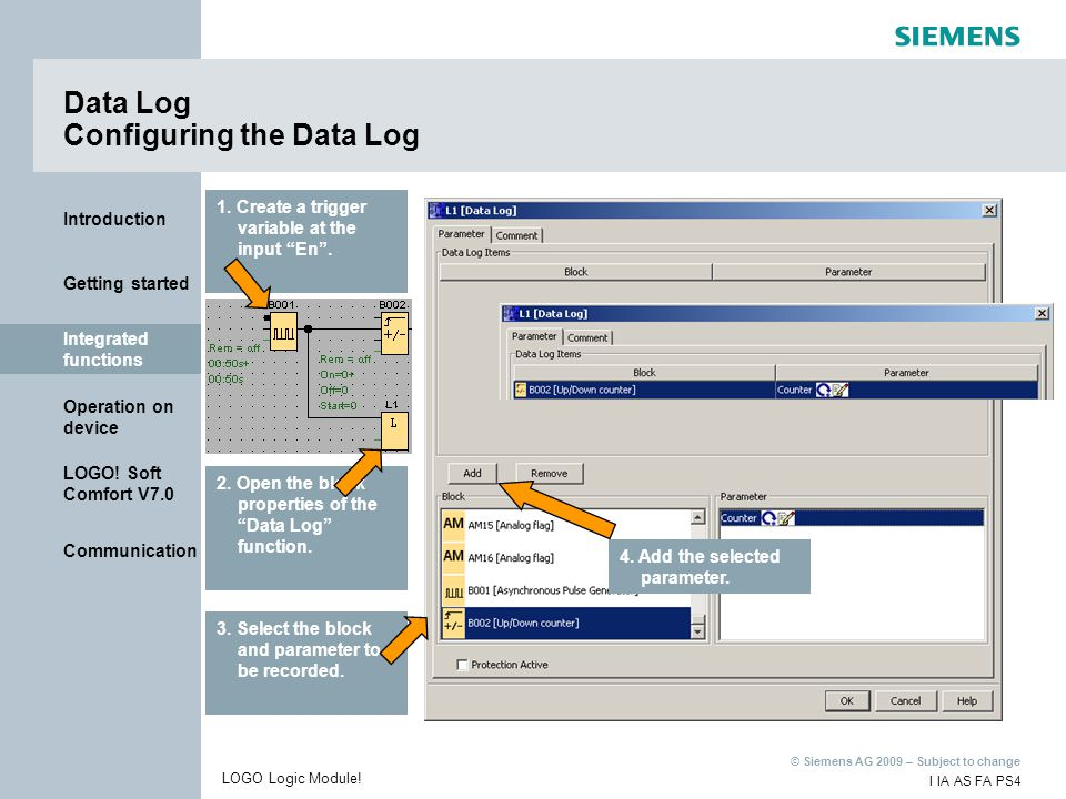 Data Log Configuring the Data Log
