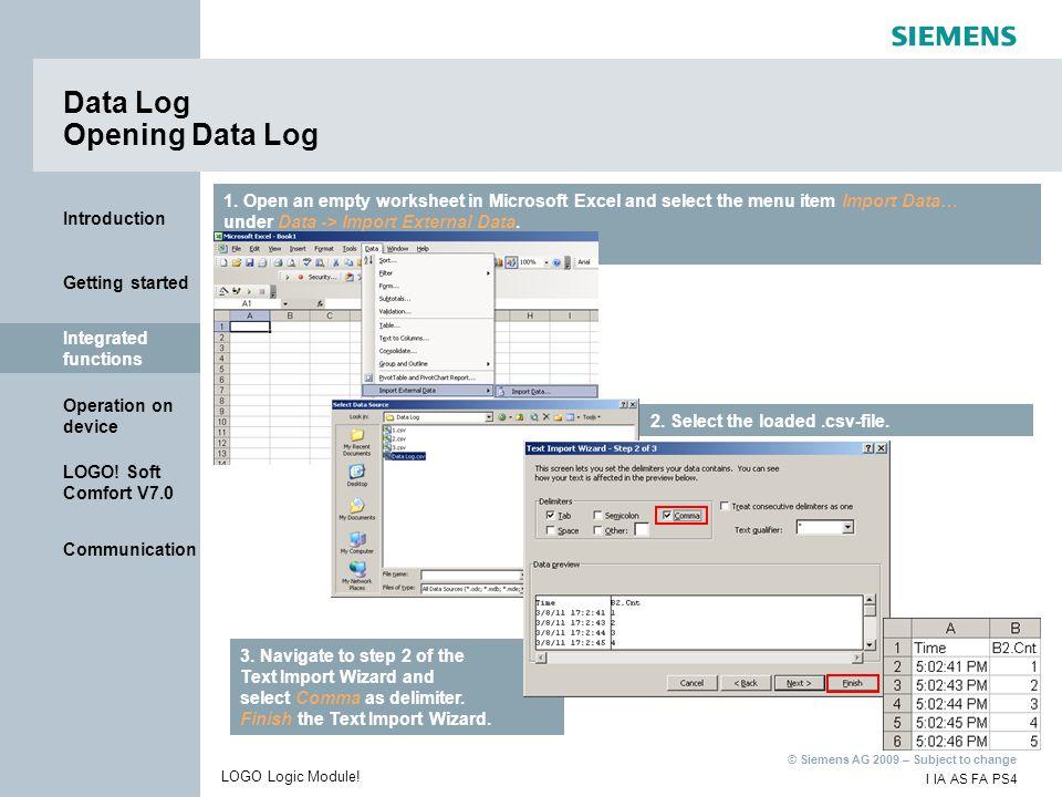 Data Log Opening Data Log