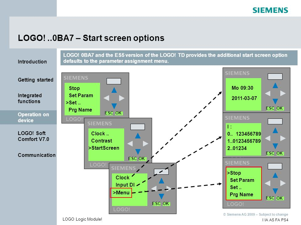 LOGO! ..0BA7 – Start screen options