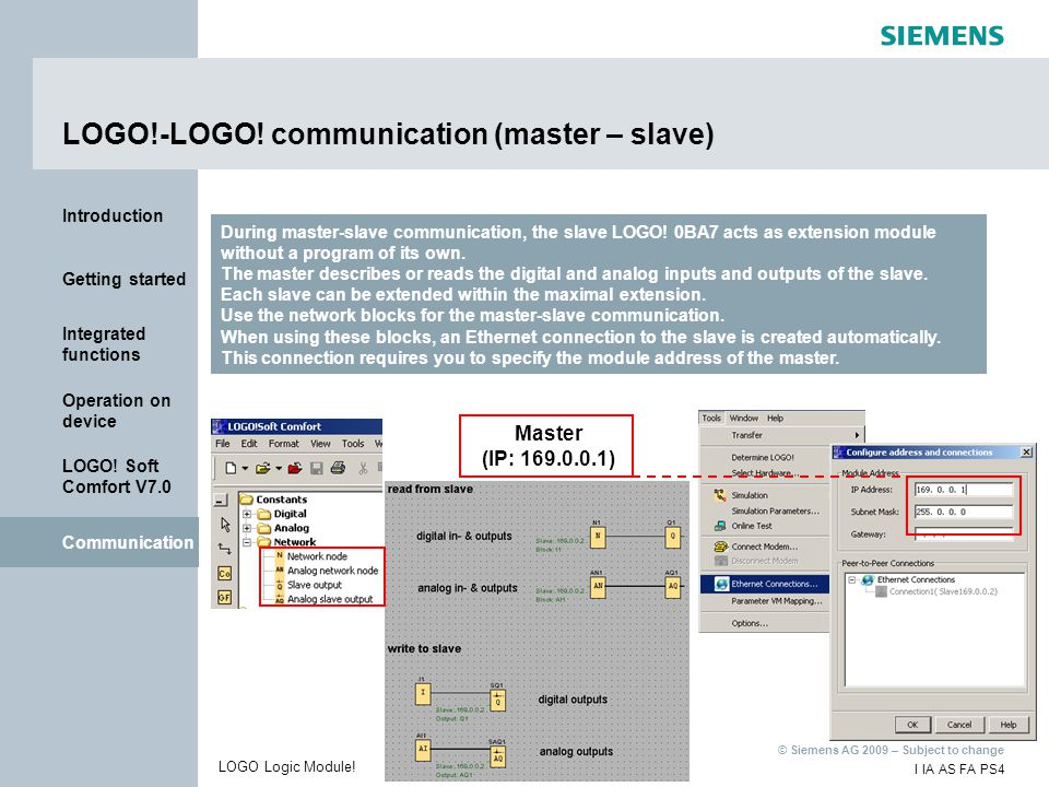 LOGO!-LOGO! communication (master – slave)