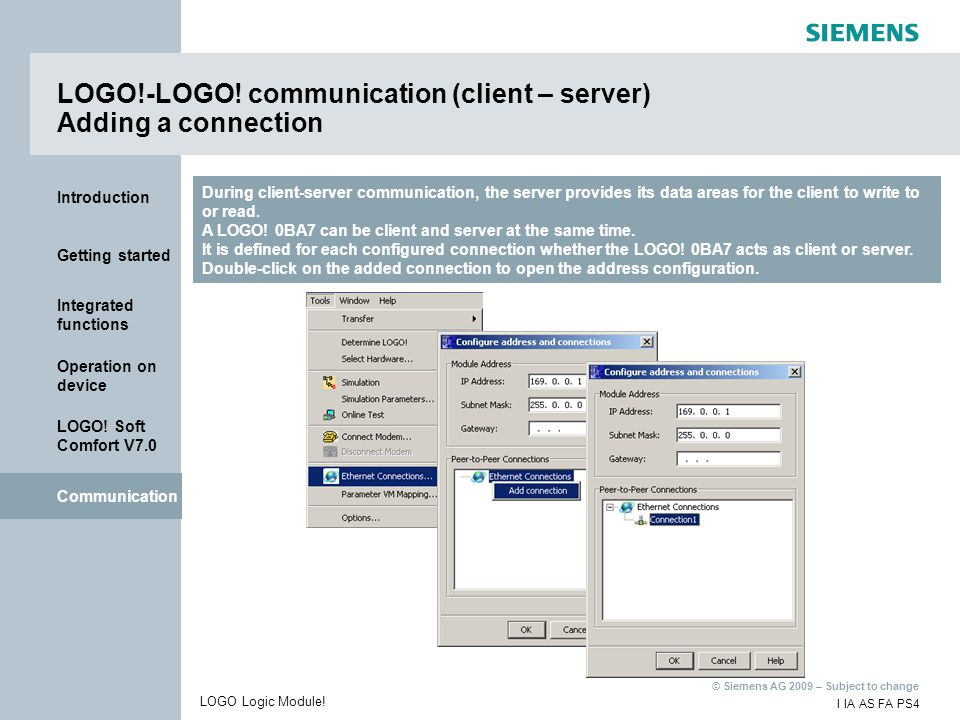 LOGO!-LOGO! communication (client – server) Adding a connection