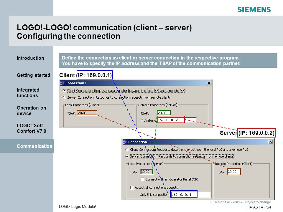 LOGO!-LOGO! communication (client – server) Configuring the connection