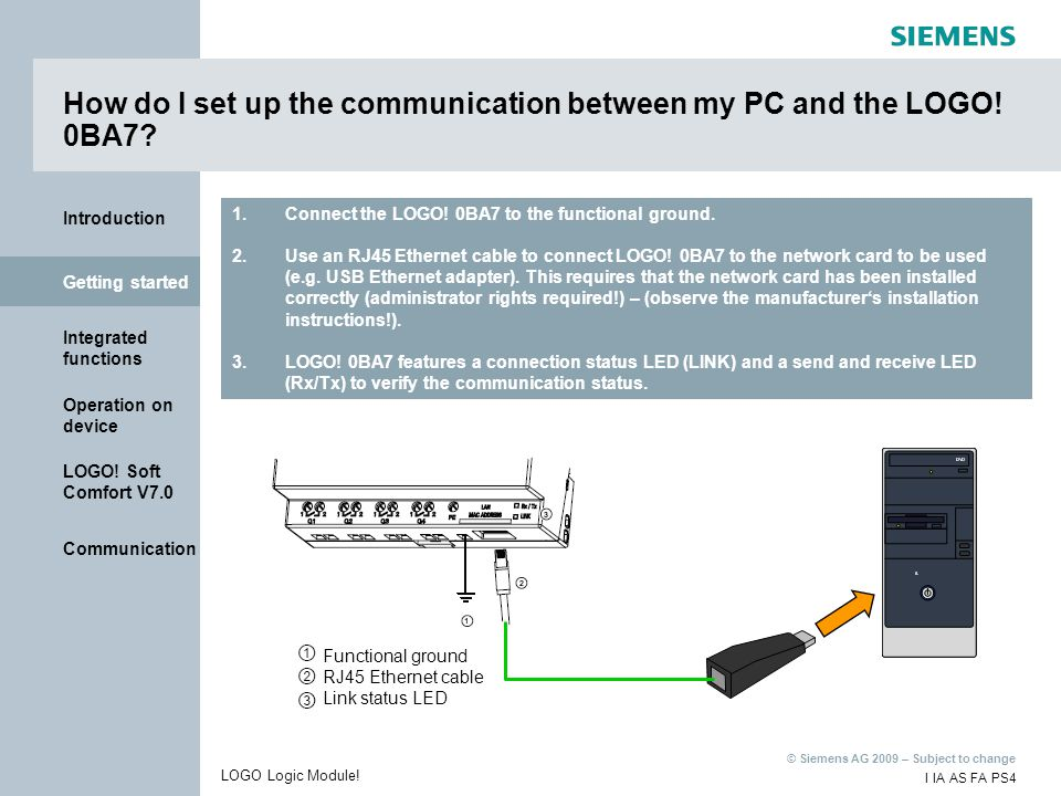 How do I set up the communication between my PC and the LOGO! 0BA7
