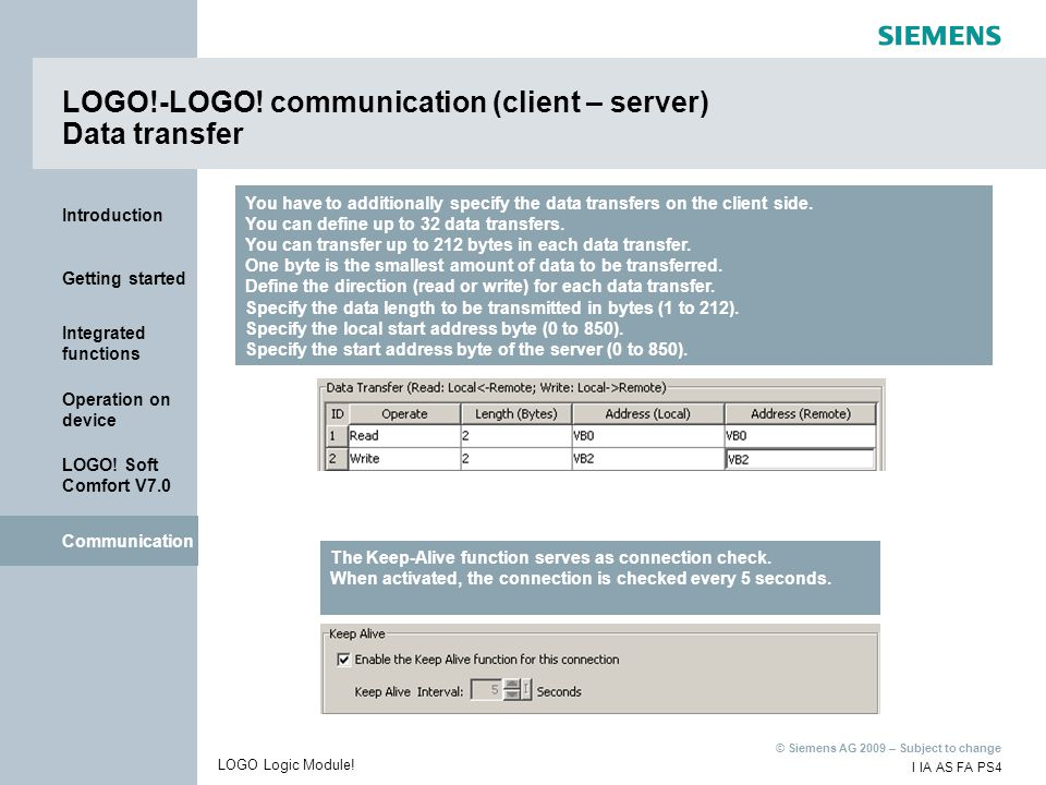 LOGO!-LOGO! communication (client – server) Data transfer