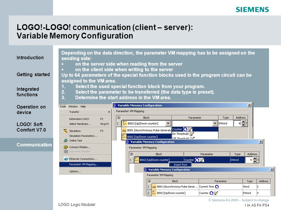 LOGO!-LOGO! communication (client – server): Variable Memory Configuration
