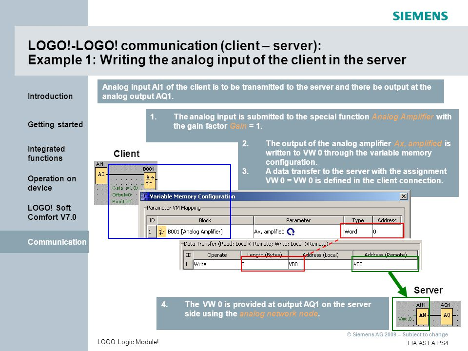 LOGO!-LOGO! communication (client – server): Example 1: Writing the analog input of the client in the server