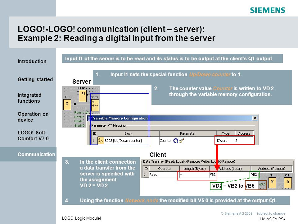 LOGO!-LOGO! communication (client – server): Example 2: Reading a digital input from the server