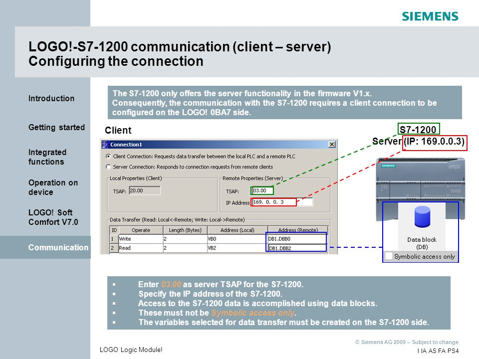 LOGO!-S7-1200 communication (client – server) Configuring the connection