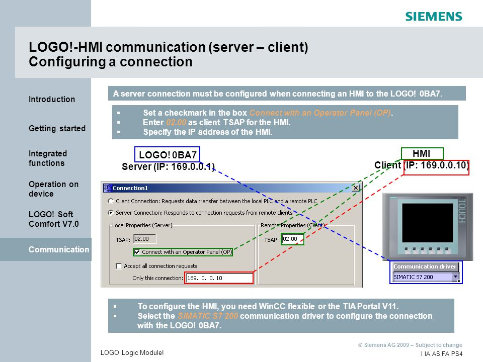 LOGO!-HMI communication (server – client) Configuring a connection