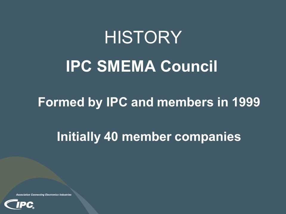 Formed by IPC and members in 1999 Initially 40 member companies