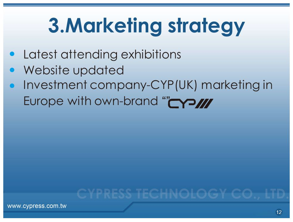 3.Marketing strategy Latest attending exhibitions Website updated