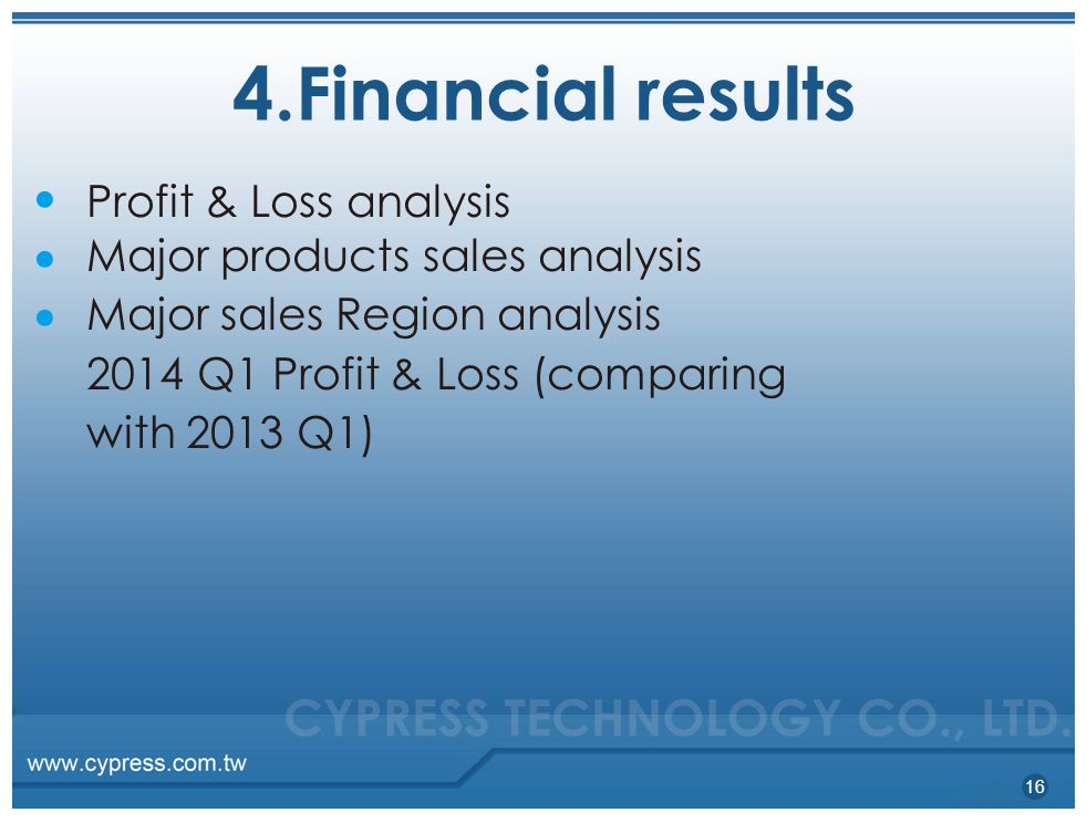 4.Financial results Profit & Loss analysis