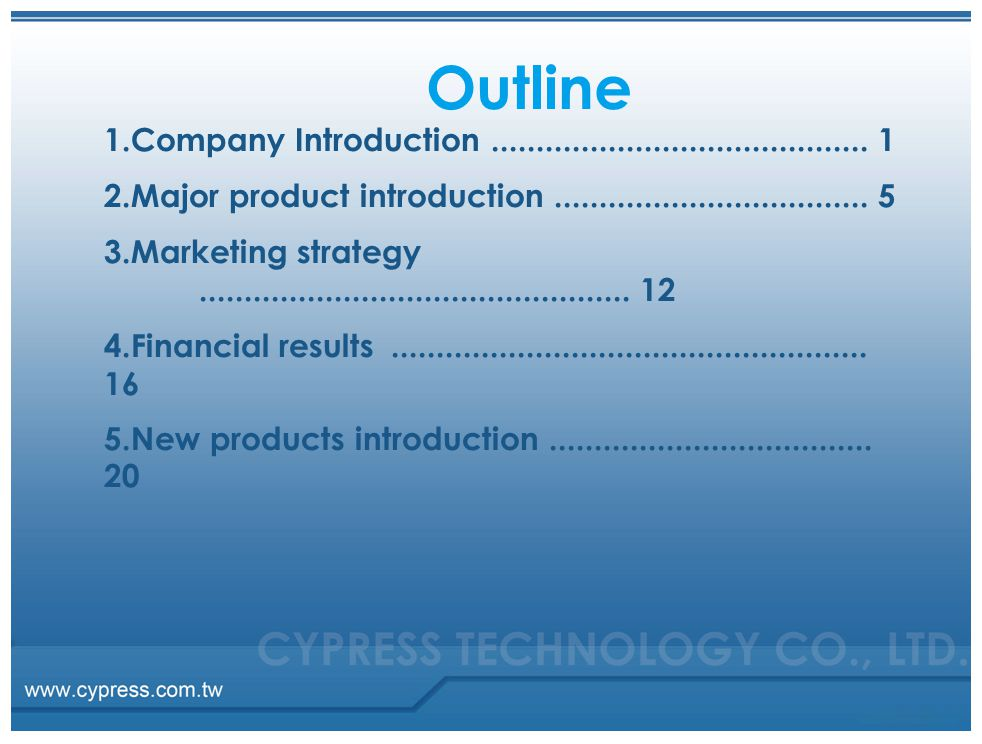 Outline 1.Company Introduction .......................................... 1. 2.Major product introduction ................................... 5.