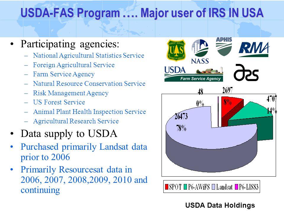 USDA-FAS Program …. Major user of IRS IN USA