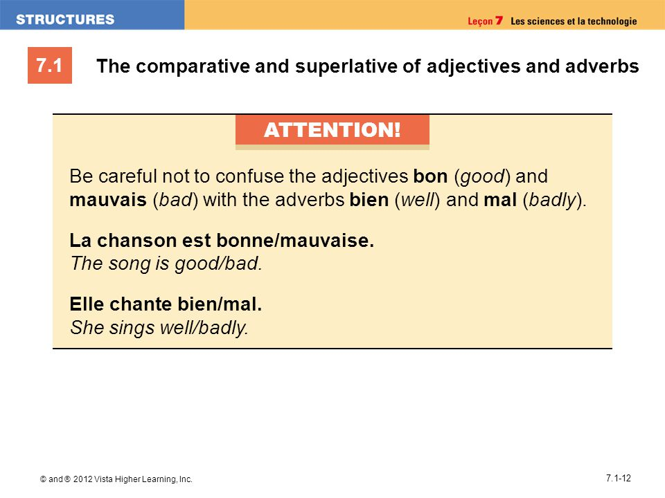 ATTENTION! The comparative and superlative of adjectives and adverbs