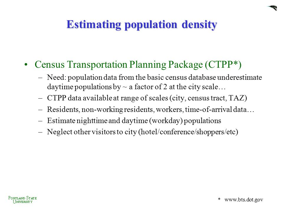 Estimating population density