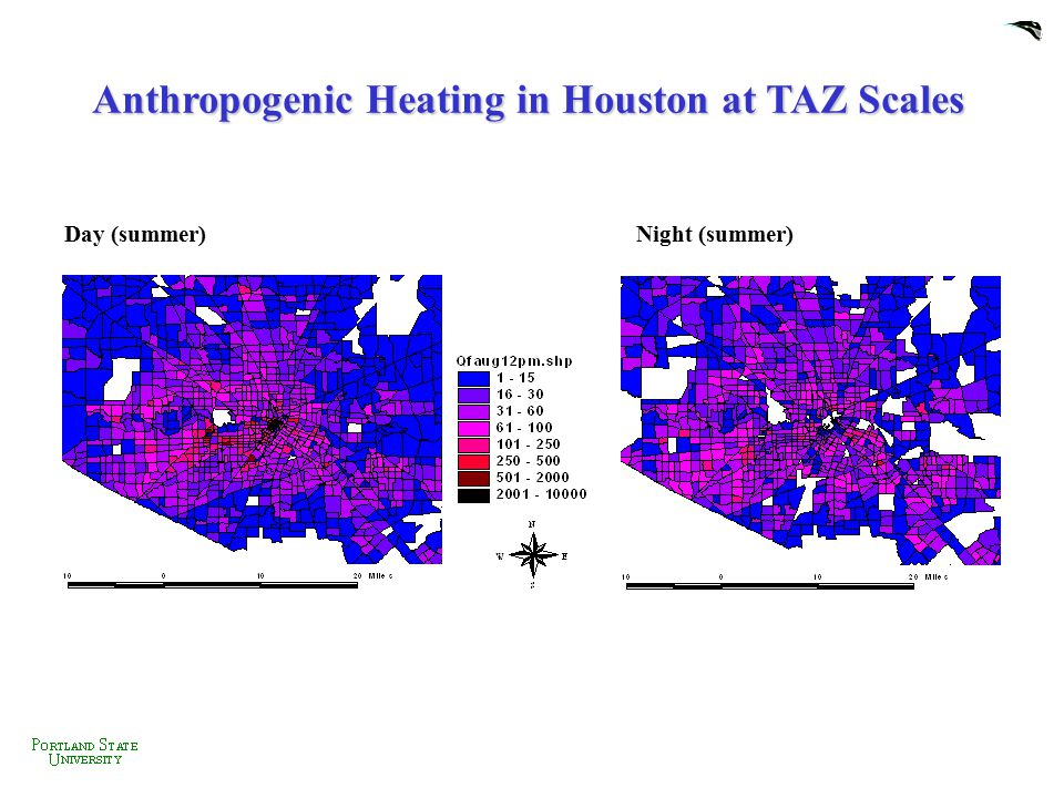 Anthropogenic Heating in Houston at TAZ Scales