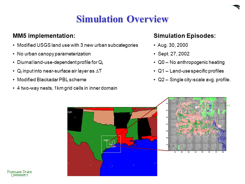 Simulation Overview MM5 implementation: Simulation Episodes: