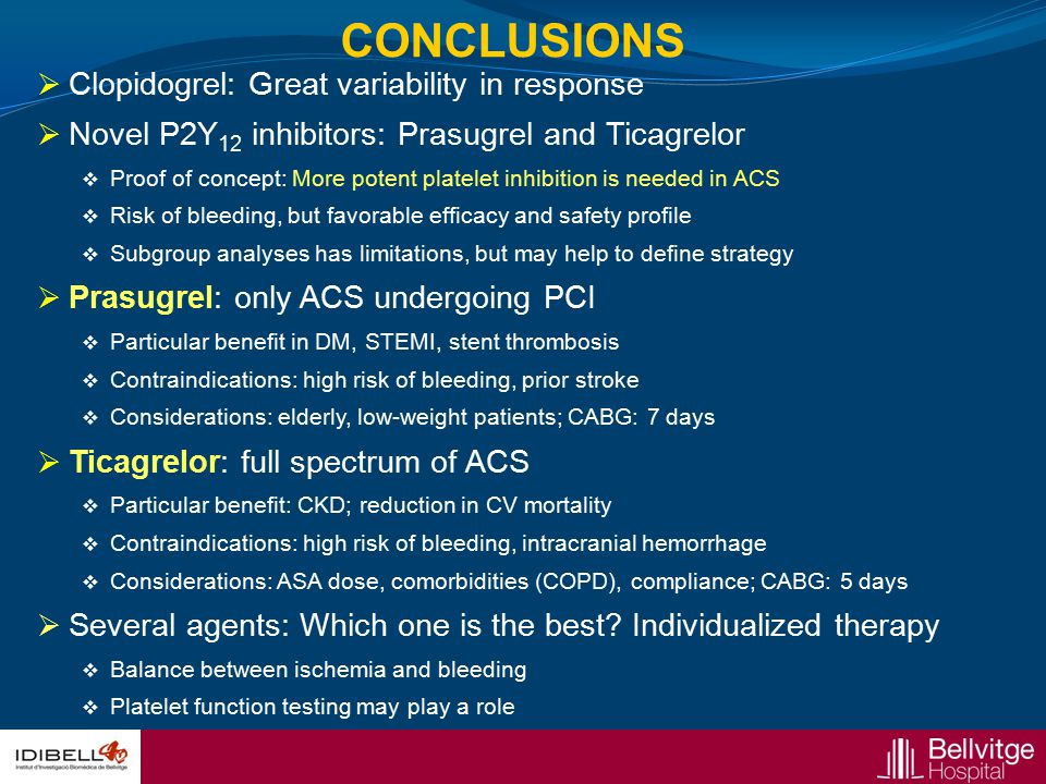 CONCLUSIONS Clopidogrel: Great variability in response