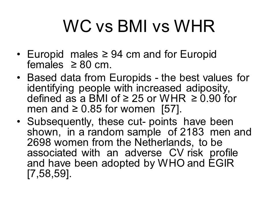 WC vs BMI vs WHR Europid males ≥ 94 cm and for Europid females ≥ 80 cm.