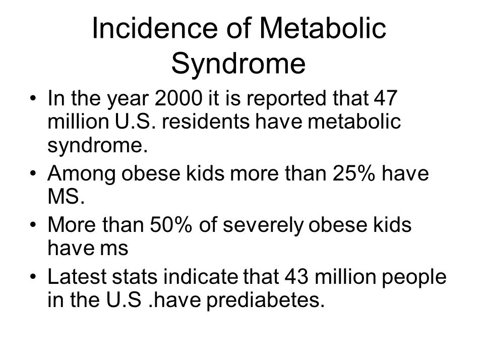 Incidence of Metabolic Syndrome